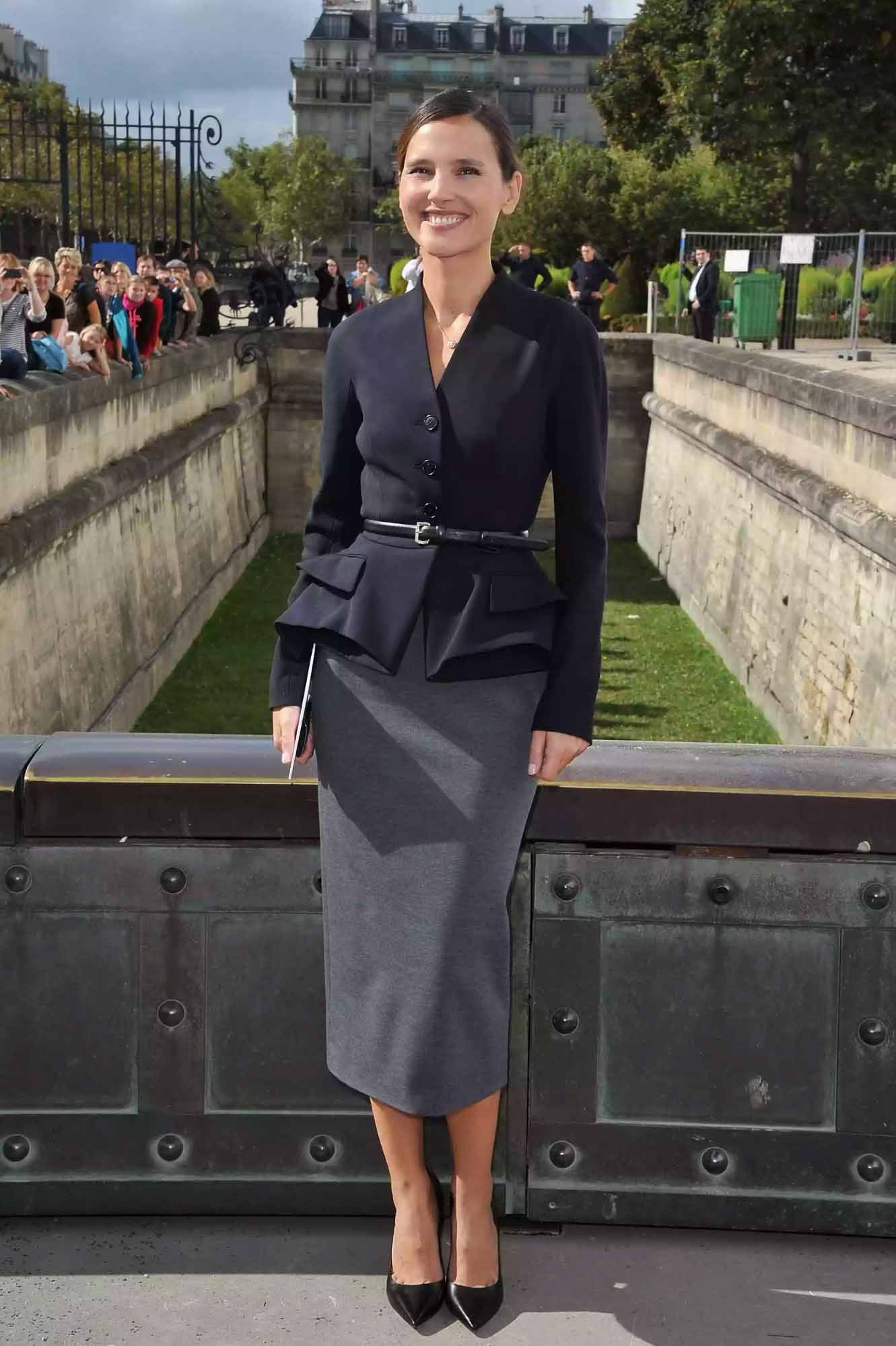 Virginie Ledoyen wears a pencil skirt to the Christian Dior fashion show. Pascal Le Segretain/Getty Images