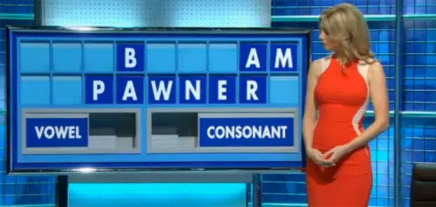 Rachel Riley shrunk her slim waist in an 'illusion' red and cream dress on Countdown. Credit: Channel 4