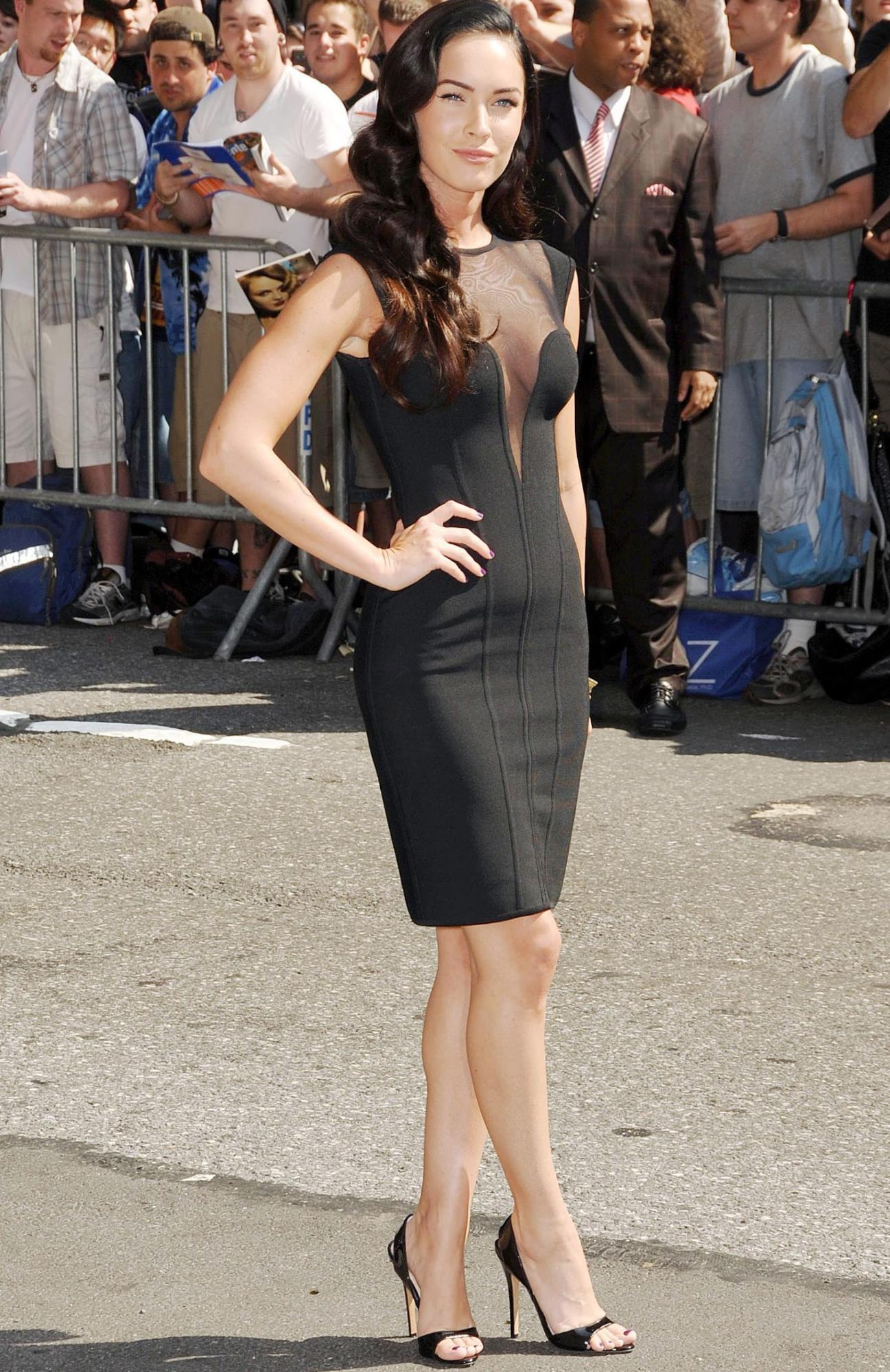 Megan Fox wears a flattering black bodycon dress to The Late Show with David Letterman. Credit: Rex Features