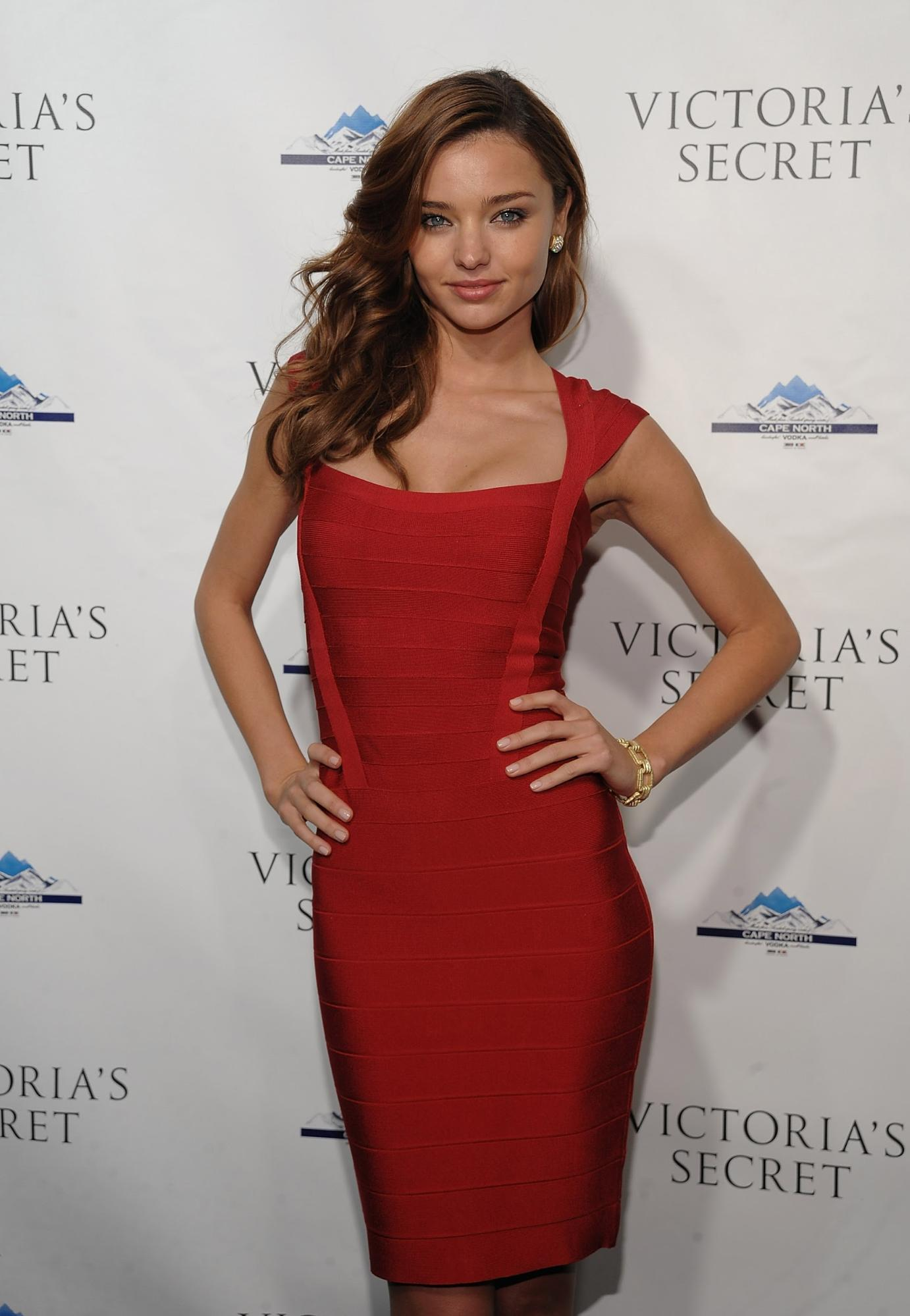 Miranda Kerr is a big fan of the bandage dress, she wore this sexy scarlet number to the opening of a new Victoria's Secret store. Credit: Getty Images - WireImage