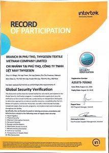 TSV GSV CTPAT Certificate